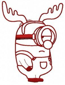 Minion in deer costume machine embroidery design 2