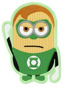 Minion in Green Lantern costume embroidery design