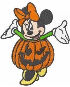 Minnie Halloween pumpkin embroidery design