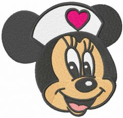Minnie heart doctor embroidery design