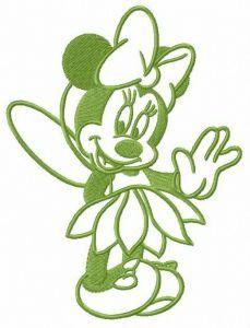 Minnie in fairy costume embroidery design