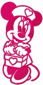 Minnie loving nurse embroidery design