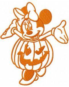 Minnie mouse pumpkin costume embroidery design
