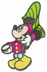 Minnie Mouse with leaf umbrella embroidery design