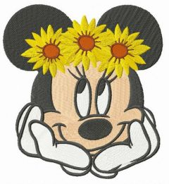 Minnie with flower wreath embroidery design