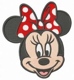 Minnie with polka dot bow embroidery design
