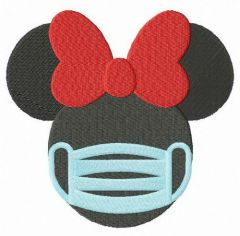 Minnie with surgical mask embroidery design