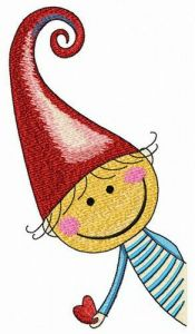 Mischievous elf embroidery design