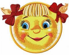 Mischievous sun embroidery design