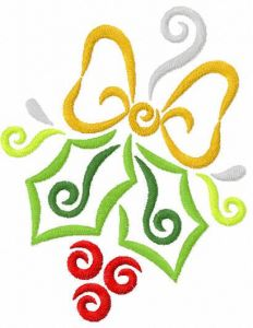Mistletoe embroidery design