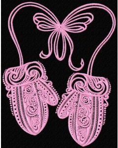 Mittens machine embroidery design
