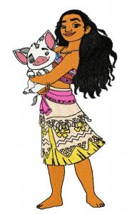 Moana and Pua 3 embroidery design