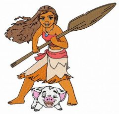 Moana and Pua embroidery design