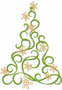 Modern Christmas tree 9 embroidery design