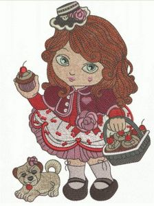 Modern Little Red Riding Hood embroidery design