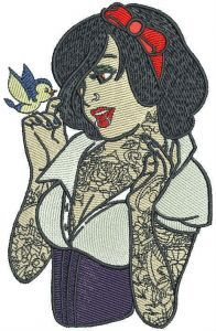 Modern Snow White embroidery design