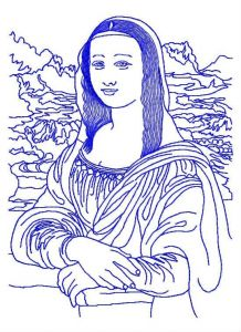 Mona Lisa embroidery design