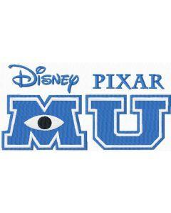 Monster University logo embroidery design