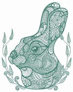 Mosaic bunny 3 embroidery design