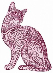 Mosaic cat 4 embroidery design