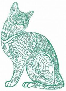 Mosaic cat 5 embroidery design