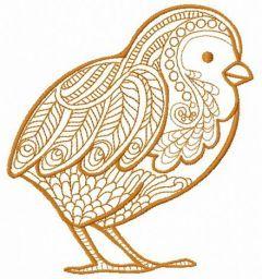 Mosaic chicken machine embroidery design