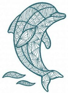 Mosaic dolphin 2 embroidery design