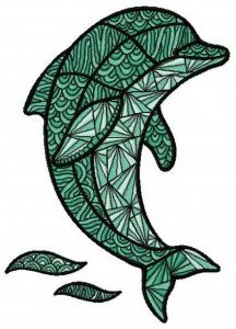 Mosaic dolphin embroidery design