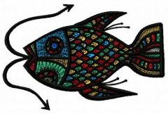 Mosaic fish embroidery design