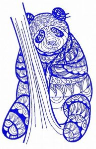 Mosaic panda 3 embroidery design