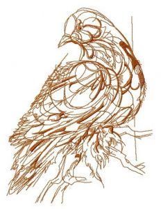 Mosaic pigeon sketch embroidery design