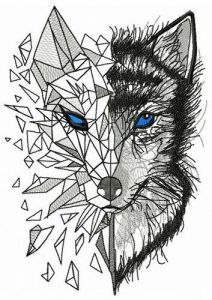 Mosaic wolf 8 embroidery design