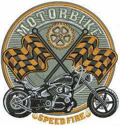 Motobike Speed Fire embroidery design
