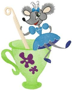 Mouse and tea pot embroidery design