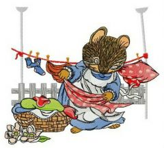 Mouse laundry embroidery design