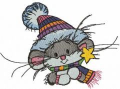 Mouse ready for winter walk free embroidery design