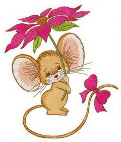 Mouse with bright pink flower embroidery design