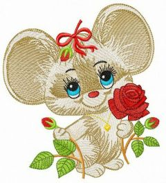 Mouse with red rose embroidery design