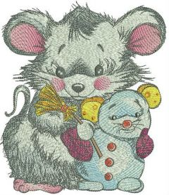 Mouse with snowmouse embroidery design