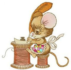 Mouse writing letter embroidery design