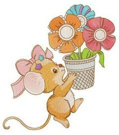 Mousekin with flower pot embroidery design