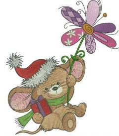 Mousekin with winter flower embroidery design