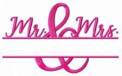 Mr & Mrs monogram embroidery design