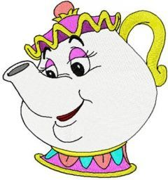 Mrs. Potts embroidery design