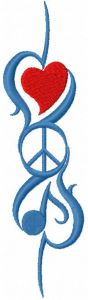 Music peace and love embroidery design