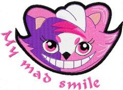 My mad smile embroidery design