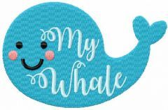 My whale embroidery design