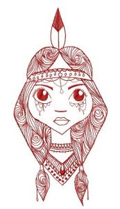 Native American girl embroidery design