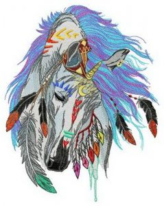 Native American horse embroidery design