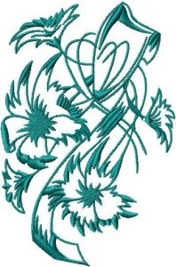 Swirl Flower embroidery design